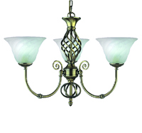 Picture of 3 Light Antique Brass Fitting Complete with Marble Glass