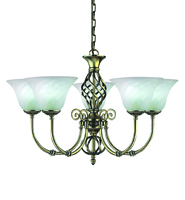 Picture of 5 Light Antique Brass Fitting Complete with Marble Glass