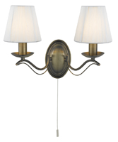 Picture of 2 Light Antique Brass Wall Bracket - Cream String Shades
