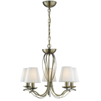 Picture of 5 Light Antique Brass Fitting - Cream String Shades