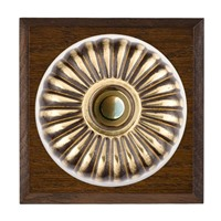 Picture of 1 Gang 240V AC 6A Bell Push - Fluted Dome Dark Oak Chamfered Edge/ Antique Brass/ White Collars