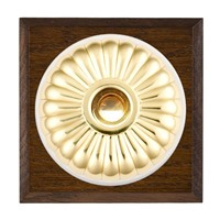 Picture of 1 Gang 240V AC 6A Bell Push - Fluted Dome Dark Oak Chamfered Edge/ Polished Brass/ White Collars
