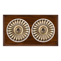 Picture of 2 Gang 20AX Intermediate Toggle Switch - Fluted Dome Dark Oak Chamfered Edge/ Antique Brass/ White Collars