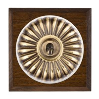 Picture of 1 Gang 20AX Double Pole Toggle Switch - Fluted Dome Dark Oak Chamfered Edge/ Antique Brass/ White Collars