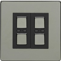 Picture of LightwaveRF Double Slave Dimmer Switch - Black Chrome