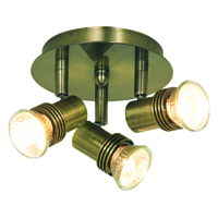 Picture of Pack 6 Antique Brass 3 Light Mini Circular Spot