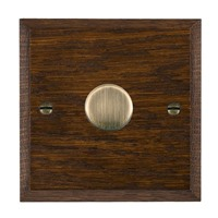 Picture of 1 Gang 250W/ 210VA Trailing Edge Multi-Way Dimmer / Antique Brass / Woods Dark Oak Chamfered Edge with Black Surround Inserts