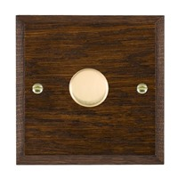 Picture of 1 Gang 250W/ 210VA Trailing Edge Multi-Way Dimmer / Polished Brass / Woods Dark Oak Chamfered Edge with Black Surround Inserts