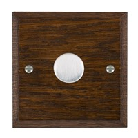 Picture of 1 Gang 250W/ 210VA Trailing Edge Multi-Way Dimmer / Satin Chrome / Woods Dark Oak Chamfered Edge with Black Surround Inserts