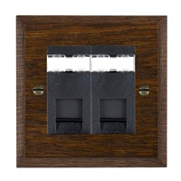 Picture of 2 Gang RJ45 CAT 5E Outlet / Black Plastic / Woods Dark Oak Chamfered Edge with Black Surround Inserts