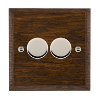 Picture of 2 Gang 250W/ 210VA Trailing Edge Multi-Way Dimmer / Bright Chrome / Woods Dark Oak Chamfered Edge with Black Surround Inserts