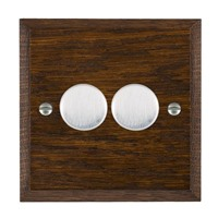 Picture of 2 Gang 250W/ 210VA Trailing Edge Multi-Way Dimmer / Satin Chrome / Woods Dark Oak Chamfered Edge with Black Surround Inserts