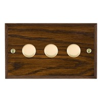Picture of 3 Gang 250W/ 210VA Trailing Edge Multi-Way Dimmer / Polished Brass / Woods Dark Oak Chamfered Edge with Black Surround Inserts