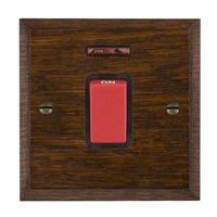Picture of 1 Gang 45A Double Pole Red Rocker + Neon / Red Plastic / Woods Dark Oak Chamfered Edge with Black Surround Inserts