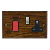 Picture of 45A Double Pole Red Rocker + Neon + 13A Switched Socket / Antique Brass / Woods Dark Oak Chamfered Edge with Black Surround Inserts