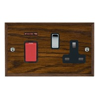Picture of 45A Double Pole Red Rocker + Neon + 13A Switched Socket / Bright Chrome / Woods Dark Oak Chamfered Edge with Black Surround Inserts
