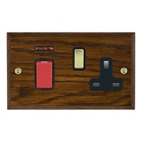 Picture of 45A Double Pole Red Rocker + Neon + 13A Switched Socket / Polished Brass / Woods Dark Oak Chamfered Edge with Black Surround Inserts