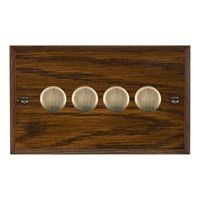 Picture of 4 Gang 250W/ 210VA Trailing Edge Multi-Way Dimmer / Antique Brass / Woods Dark Oak Chamfered Edge with Black Surround Inserts
