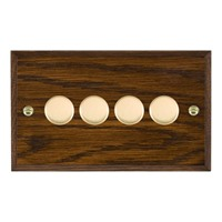 Picture of 4 Gang 250W/ 210VA Trailing Edge Multi-Way Dimmer / Polished Brass / Woods Dark Oak Chamfered Edge with Black Surround Inserts