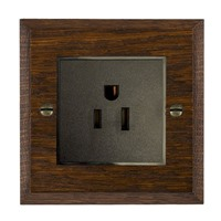 Picture of 1 Gang 15A American Unswitched Socket / Black Plastic / Woods Dark Oak Chamfered Edge with Black Surround Inserts