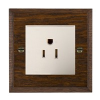 Picture of 1 Gang 15A American Unswitched Socket / White Plastic / Woods Dark Oak Chamfered Edge with White Surround Inserts