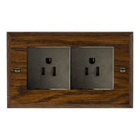 Picture of 2 Gang 15A American Unswitched Socket / Black Plastic / Woods Dark Oak Chamfered Edge with Black Surround Inserts