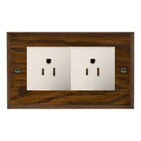 Picture of 2 Gang 15A American Unswitched Socket / White Plastic / Woods Dark Oak Chamfered Edge with White Surround Inserts