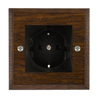 Picture of 1 Gang 16A German Unswitched Socket / Black Plastic / Woods Dark Oak Chamfered Edge with Black Surround Inserts