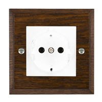 Picture of 1 Gang 16A German Unswitched Socket / White Plastic / Woods Dark Oak Chamfered Edge with White Surround Inserts