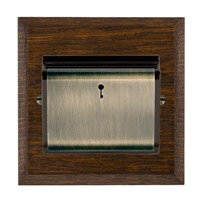 Picture of 1 Gang 12-24 V AC/DC +/- 10% On/Off with Blue LED Locator / Antique Brass / Woods Dark Oak Chamfered Edge with Black Surround Inserts