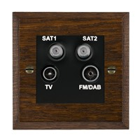 Picture of Non Isolated TV/FM/ Satellite 1/ Satellite 2 Quadplexer 2 In/ 4 Out / Black Plastic / Woods Dark Oak Chamfered Edge with Black Surround Inserts