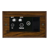 Picture of Non Isolated TV/FM/ Satellite 1/ Satellite 2 Quadplexer 2 In/ 4 Out + TVF + TCS / Black Plastic / Woods Dark Oak Chamfered Edge with Black Surround Inserts