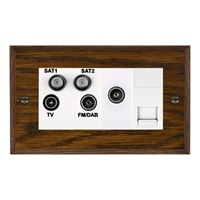 Picture of Non Isolated TV/ FM/ Satellite 1/ Satellite 2 Quadplexer 2 In/ 4 Out + TVF + TCS / White Plastic / Woods Dark Oak Chamfered Edge with White Surround Inserts