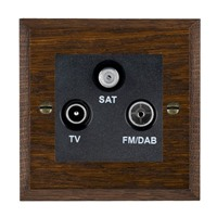 Picture of Non Isolated TV/FM/ Satellite Triplexer 1 In/ 3 Out / Black Plastic / Woods Dark Oak Chamfered Edge with Black Surround Inserts