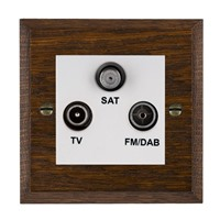 Picture of Non Isolated TV/FM/Satellite Triplexer 1 In/ 3 Out / White Plastic / Woods Dark Oak Chamfered Edge with White Surround Inserts