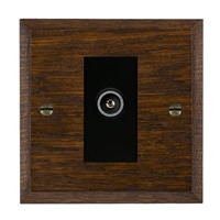 Picture of 1 Gang TV Non Isolated (Female) / Black Plastic / Woods Dark Oak Chamfered Edge with Black Surround Inserts