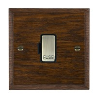 Picture of 1 Gang 13A Fuse Only / Antique Brass / Woods Dark Oak Chamfered Edge with Black Surround Inserts