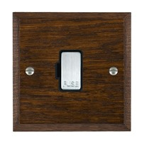 Picture of 1 Gang 13A Fuse Only / Bright Chrome / Woods Dark Oak Chamfered Edge with Black Surround Inserts