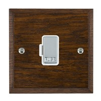 Picture of 1 Gang 13A Fuse Only / Bright Chrome / Woods Dark Oak Chamfered Edge with White Surround Inserts