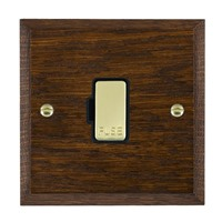Picture of 1 Gang 13A Fuse Only / Polished Brass / Woods Dark Oak Chamfered Edge with Black Surround Inserts