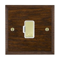 Picture of 1 Gang 13A Fuse Only / Polished Brass / Woods Dark Oak Chamfered Edge with White Surround Inserts