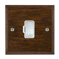 Picture of 1 Gang 13A Fuse Only / Satin Chrome / Woods Dark Oak Chamfered Edge with White Surround Inserts