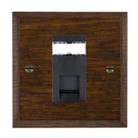 Picture of 1 Gang RJ12 Outlet Unshielded / Black Plastic / Woods Dark Oak Chamfered Edge with Black Surround Inserts