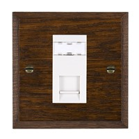 Picture of 1 Gang RJ12 Outlet Unshielded / White Plastic / Woods Dark Oak Chamfered Edge with White Surround Inserts