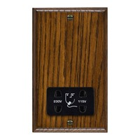 Picture of Shaver Dual Voltage Unswitched Socket / Black Plastic / Woods Dark Oak Chamfered Edge with Black Surround Inserts