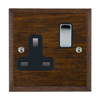 Picture of 1 Gang 13A Double Pole Switched Socket / Bright Chrome / Woods Dark Oak Chamfered Edge with Black Surround Inserts