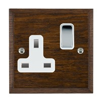 Picture of 1 Gang 13A Double Pole Switched Socket/ Bright Chrome / Woods Dark Oak Chamfered Edge with White Surround Inserts