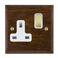 Picture of 1 Gang 13A Double Pole Switched Socket/ Polished Brass / Woods Dark Oak Chamfered Edge with White Surround Inserts