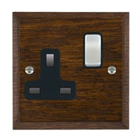 Picture of 1 Gang 13A Double Pole Switched Socket / Satin Chrome / Woods Dark Oak Chamfered Edge with Black Surround Inserts