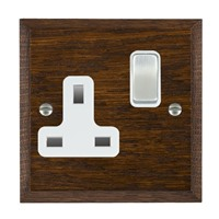 Picture of 1 Gang 13A Double Pole Switched Socket/ Satin Chrome / Woods Dark Oak Chamfered Edge with White Surround Inserts